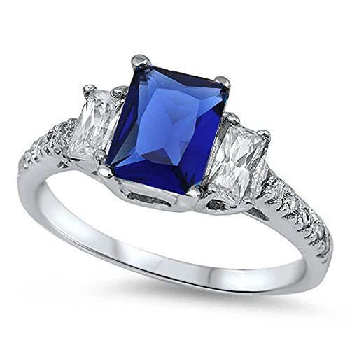 3 Stone Engagement Ring Radiant Cut Simulated Blue Sapphire Round CZ 925 Sterling Silver, Size-5