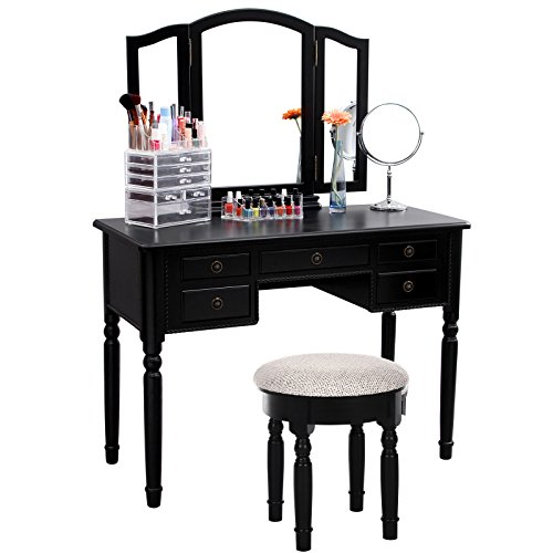 Songmics vanity set tri folding mirror make up dressing for Black makeup table with mirror