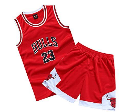 (Suitable for Children NBA Basketball Clothes Suit Summer # 23 Jordan, Breathable mesh, Campus costumes-5-XL)