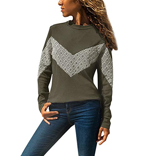 ZEFOTIM Womens Casual Long Sleeve Splicing Color O-Neck T Shirts Tops Blouse Tee Top(Large,A-Army Green) ()