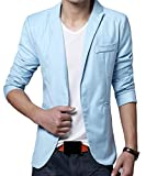 Domple Men's One Button Fashion Formal Business Lapel Blazer Suit Jackets Azure S