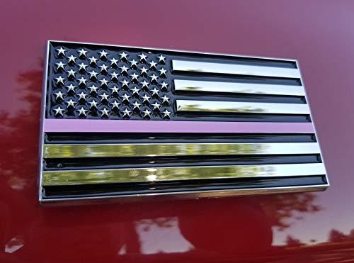 American Flag Sticker | American Flag Decal | Breast Cancer Awareness American Flag 3x5 Car Emblem | USA Flag Car Stickers For Women | US Flag Car Decals For Men -