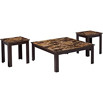 Monarch 3 Piece Cappuccino Square Table Set With Marble Top