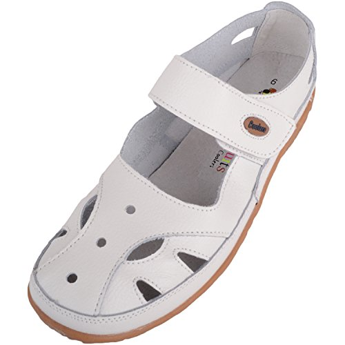 Absolute Footwear Womens Casual Leather Summer/Holiday Shoes with Ripper Strap Fastening White