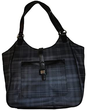 Women's NS Tote, Large, Gray Plaid