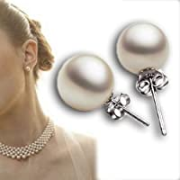 New Fashion 3 Size Womens Real White Freshwater Pearl Ear Stud Earrings Gift 8mm