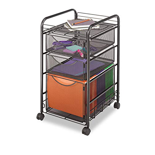 Safco 5213BL Onyx Mesh Mobile File with Two Supply Drawers 15-1/4w x 17d x 27h Black ()