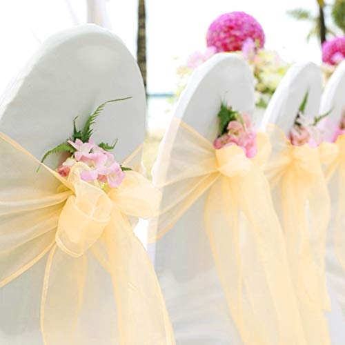 BIT.FLY 50 Pcs Organza Chair Sashes for Wedding Decoration Banquet Party Event Supplies Chair Bows Ties Chair Cover Bands - Gold