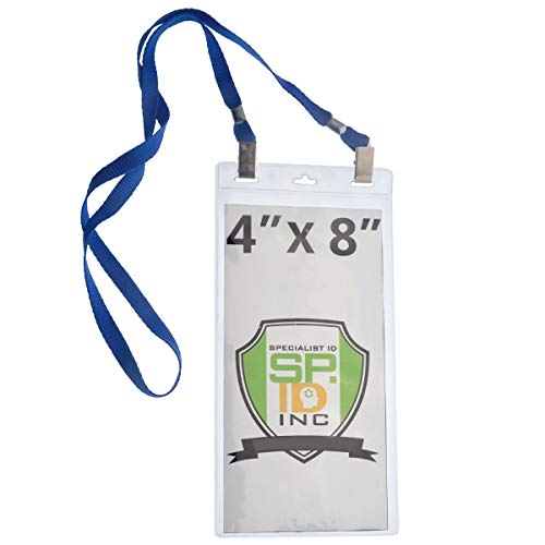 - 5 Pack - Extra Large 4 x 8 Inch Ticket & Event Credential Badge Holders with Double Sided Lanyards with Two Bulldog Clips, by Specialist ID (Royal Blue)
