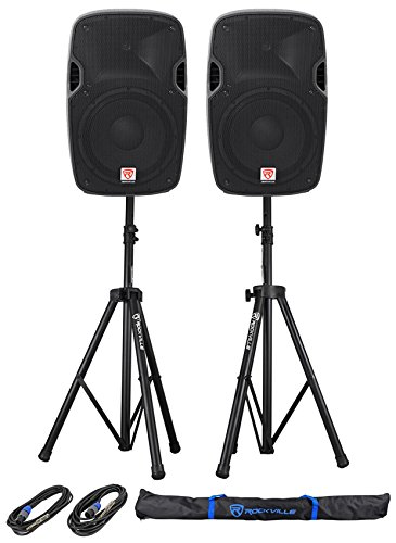 (2) Rockville SPGN128 12'' 8-Ohm Passive 2400w DJ PA Speakers+Stands+Cables+Bag by Rockville