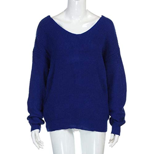 Nu Cou Dos Femme Sweater Manches Pull El V Tricot Longues O1Rqw