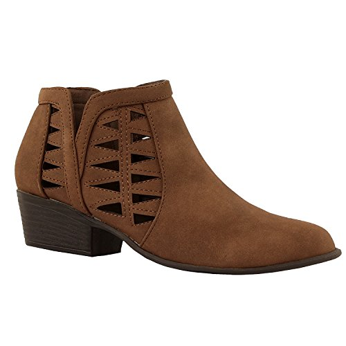 Guilty Schuhe Damen Blockabsatz Geschlossene Zehe - Riemchen Stiefeletten Brown1 Nubuk