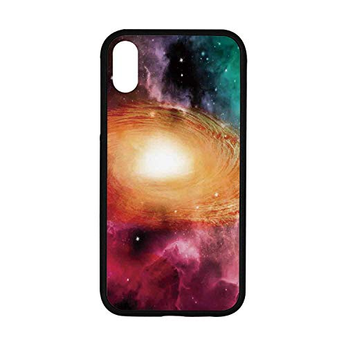 Science Room Decor Rubber Phone Case,Colorful Astronomy Pictures of A Spiral Galaxy Stars and Stardust Compatible with iPhone XR