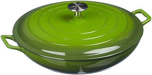 AmazonBasics Enameled Cast Iron Covered Casserole Skillet, 3.3-Quart, Green - Green Round Casserole Dish