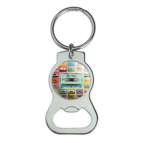 Graphics and More Classic Compact Cassette Mix Tapes Collage Bottle Cap Opener Keychain Key Ring