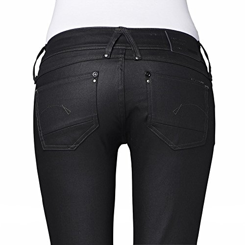 001 black Raw Donna Super Jeans Skinny D Lynn star waist mid G Nero Pq57w7