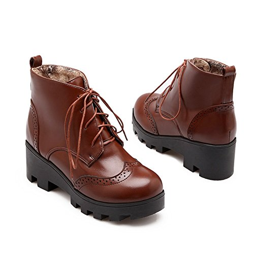 Brown Lace Boots Out Ladies Hollow Pattern Imitated Leather Bandage BalaMasa Ornament Leopard wPAxH