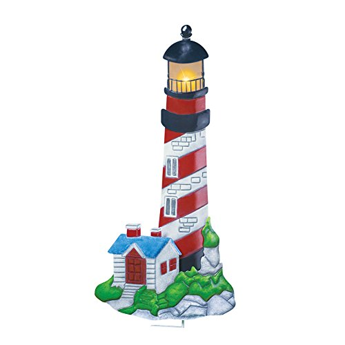 Collections Etc Solar Powered Nautical Beach Hand-painted Lighthouse Garden Decor Yard Lawn Stake by Collections Etc