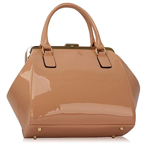 Ladies Nude Look Womens Leather Patent Medium Bow For Designer Handbags Bags With Size New 1 Females Fashion Design rwrASTHq