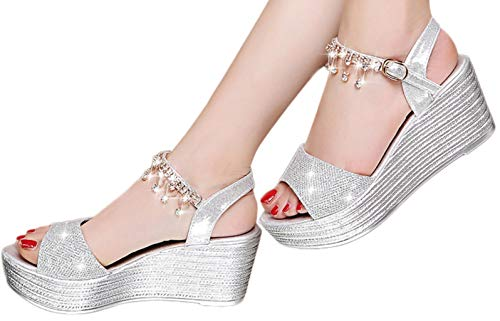 Hemlock Women Fashion Sequin Wedge Sandals Pear Belt Buckle Sandals Thick Platform Sandals Party Dress Sandals Shoes Silver