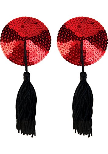 [Sexy Burlesque Sequin Pasties Red with Tassels Black for Women Lingerie Set Premium Underwear Adult] (Sexy Sequin Kitty Costumes)