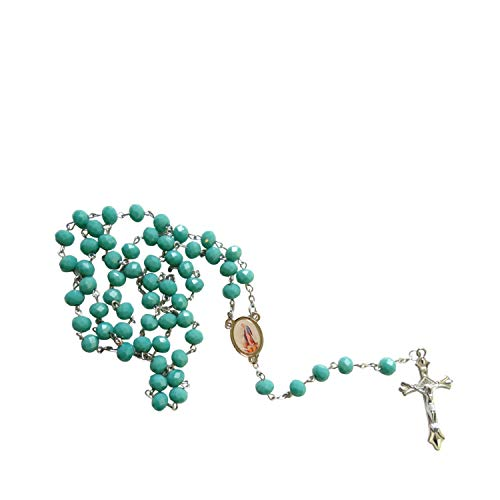 - Gifts by Lulee, LLC Our Lady of The Miraculous Medals La Milagrosa Teal Amazonite Faceted Opaque Round Beads Rosary with Silver Plated Medal Centerpiece and Crucifix Includes a Prayer Card