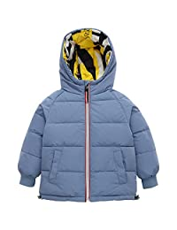 Kids Down Jacket Boys Girls Puffer Padded Coats Winter Hooded Double-Sided Outerwear