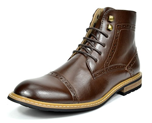 Bruno Marc Men's Bergen-03 Dark Brown Leather Lined Oxfords Dress Ankle Boots Size 11 M US