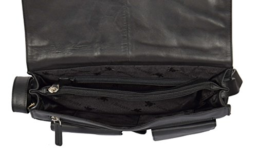 Shoulder Work Flap Black Cross Womens Leather Bag LARGE Body Over Bag A53 dq11F8nvw