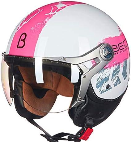 ZJJ ヘルメット- セミカバーヘルメット、ユニセックスヘルメット、雨および紫外線保護用ヘルメット、透明ショートレンズ (色 : ピンク, サイズ さいず : XL)