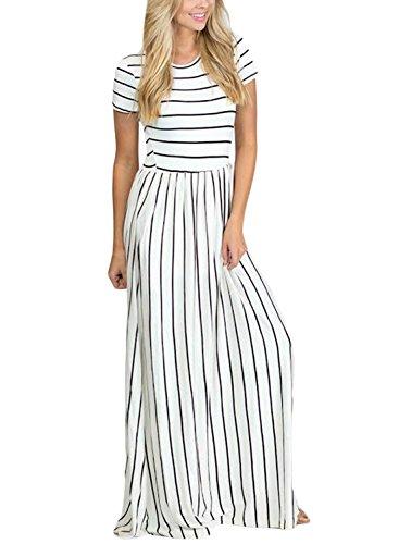 3e5368a0a516b HOTAPEI Women's Summer Casual Loose Striped Long Dress Short Sleeve Pocket  Maxi Dress