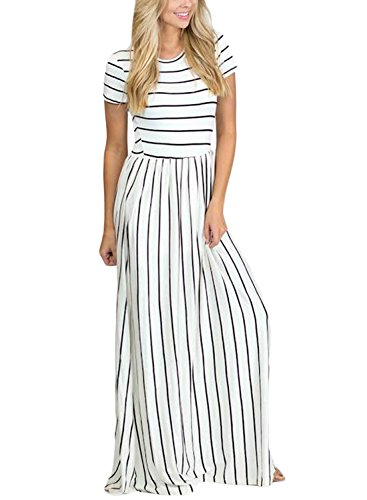 HOTAPEI Women's Summer Casual Loose Long Dress Short Sleeve Pocket Maxi Dress White and Black Striped