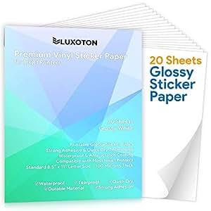 Amazon.com: Papel adhesivo de vinilo imprimible prémium, 20 ...