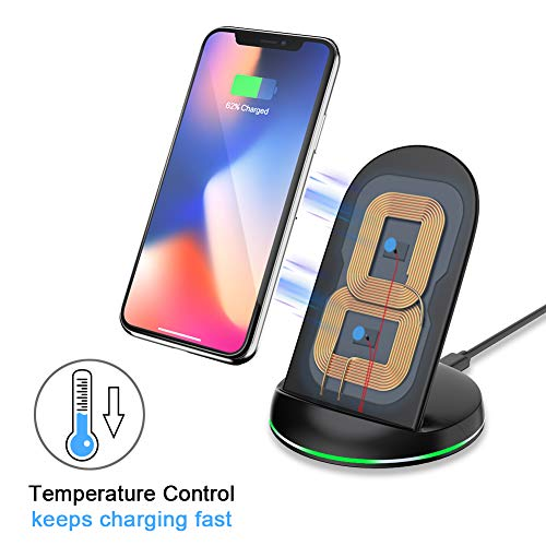 Yootech Wireless Charger Qi-Certified, 7.5W Wireless Charging Stand Compatible iPhone X/8/8 Plus,10W Compatible Galaxy S9/S9 Plus/Note8/S8/S8 Plus,5W All Qi-Enabled Phones(No AC Adapter) by yootech (Image #2)