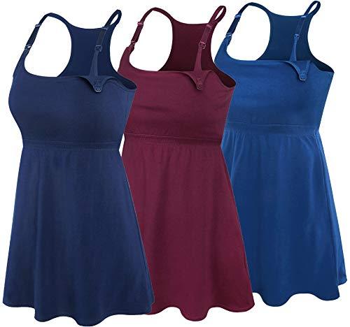 - SUIEK 3PACK Racerback Nursing Tops Tank Cami Maternity Bra Breastfeeding Sleep Shirt (Large, Burgundy+Navy+Atrovirens 3Pack)