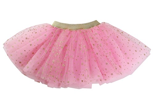 (WGOODTECK Newborn Infant Baby Girls Super Soft Gold Stars Glitter Skirt(12-24M,Pink))