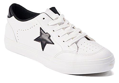 Damessneakers Metallic Ster Mode Veganistisch Leer Comfortabele Casual Mode Euro Star Schoenen Zwart / Wit