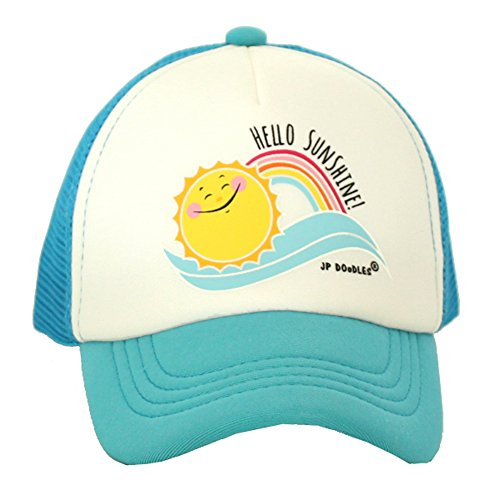 JP DOoDLES® Sunshine and Rainbows on Baby Infant Youth Kids Trucker Hat Baseball Cap (Kiddo 2-6 Years, Light Blue) (Cap Mesh Rainbow)