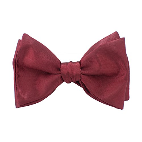 Glossy Satin - Men`s Self Tie Bow Tie Formal Solid Glossy Satin for Tuxedo, by Bow Tie House (Classic, Dark Red)