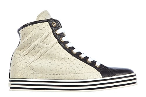 Hogan Rebel chaussures baskets sneakers hautes femme en cuir rebel r182 beige