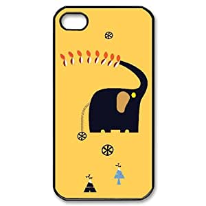 Iphone 4,4S 2D DIY Hard Back Durable Phone Case with Elephants Image