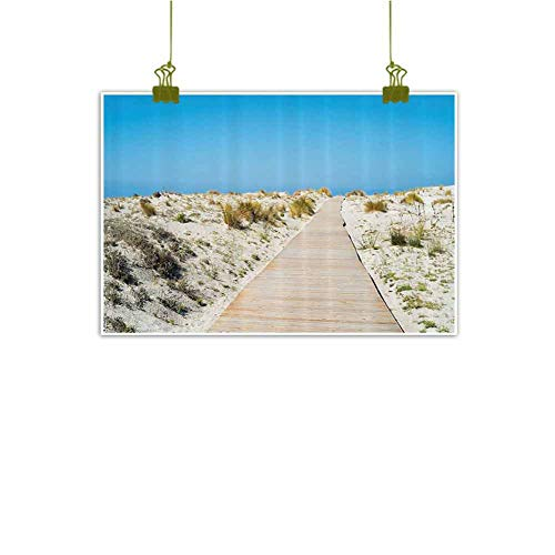 SEMZUXCVO Abstract Painting Seaside Decor Collection Footpath on Le Dune Beach in South of Sardinia Island Italian Style Peaceful Calm Hours Modern Minimalist Atmosphere W28 x L20 Cream Blue