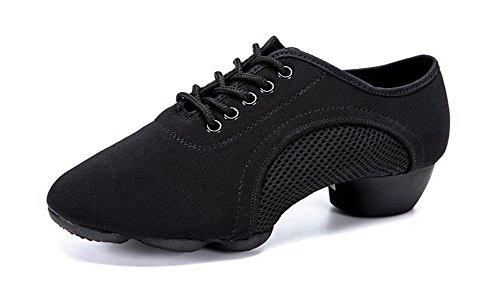 XW WX Femmes Latin Danse Chaussures De L'enseignant Adulte Moderne Doux Sneakers Chaussures De Danse Carré Jazz Rubber Sole Chaussures GB valse 33-43 black 7NZCc