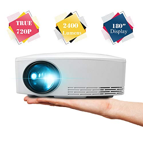 720P Projector, BeVision True Native 1280x720P Video Beam, 240 ANSI Lumens, Portable Home Movie Game Theater, LED Proyetor for Indoor Outdoor Party