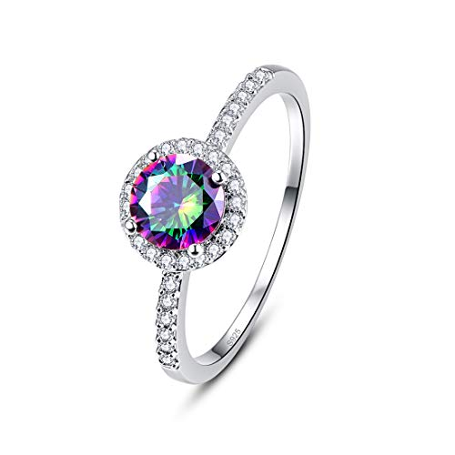Duo Claddagh - PAKULA 925 Sterling Silver Women Simulated Mystic Topaz Thin Band CZ Halo Ring Size 9