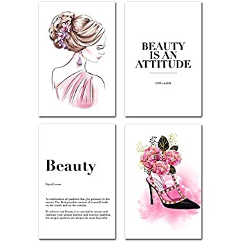 Fashion Wall Art Painting Canvas - Abstract Women Poster Beauty Quotes and Sayings High Heels Dorm Decor for College Girls Teen Home Decorations Living Room Bedroom Picture Set of 3 Gift Artwork