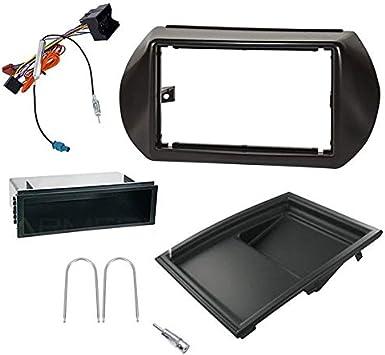Sound-Way Kit Montage Autoradio, Marco 1 DIN / 2 DIN Radio de Coche, Adaptador Antena, Cable Adaptador Conector ISO, Llaves Compatible con Citroen ...
