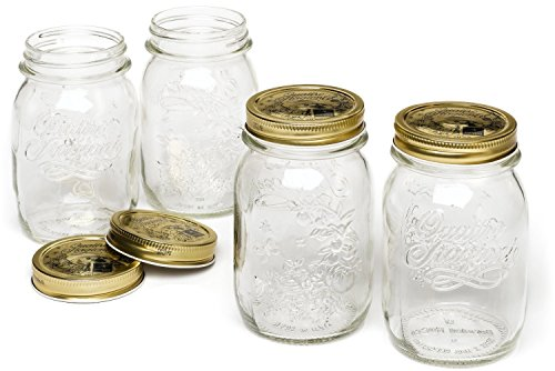 Bormioli Rocco Quattro Stagioni 4-Piece Canning Jar Set, Gift Boxed (Covered Jar Glass)