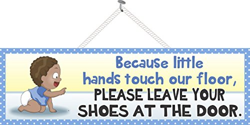 """Remove Your Shoes Baby Sign with Crawling Dark Skinned Boy in Blue T-Shirt - Fun Sign Factory Original Nursery Décor - 16"""" x 5"""" x 3/8"""" Baby Décor"""