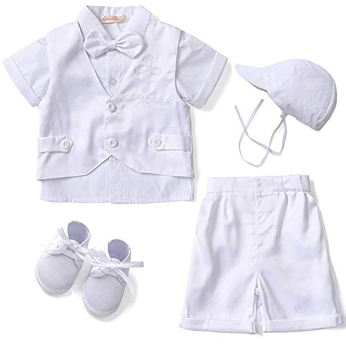 Baptism Baby Clothes - Baby Boy's 5 Pcs Set White Baptism Outfits Vest Short Sleeves Suit, 3-6 Months, Snow White